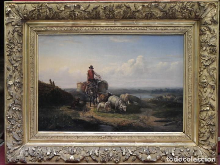 Arte: Paisaje con figuras escuela holandesa s-XVIII-XIX - Foto 5 - 138864918