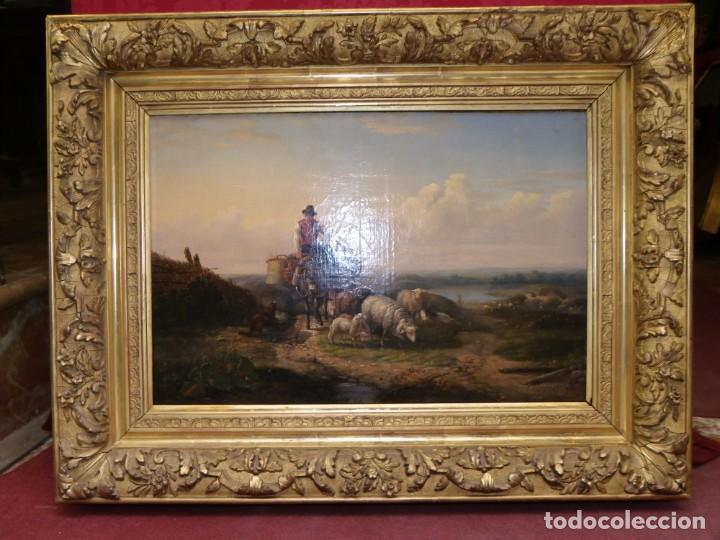Arte: Paisaje con figuras escuela holandesa s-XVIII-XIX - Foto 2 - 138864918