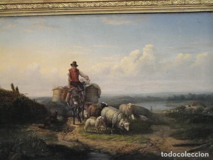 Arte: Paisaje con figuras escuela holandesa s-XVIII-XIX - Foto 9 - 138864918