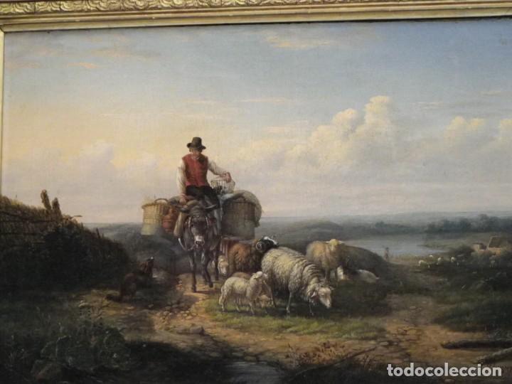 PAISAJE CON FIGURAS ESCUELA HOLANDESA S-XVIII-XIX (Arte - Pintura - Pintura al Óleo Antigua siglo XVIII)
