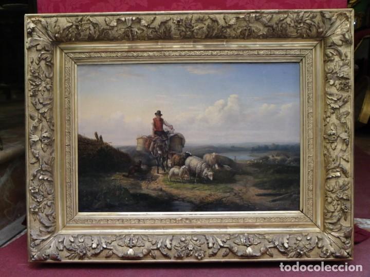 Arte: Paisaje con figuras escuela holandesa s-XVIII-XIX - Foto 3 - 138864918