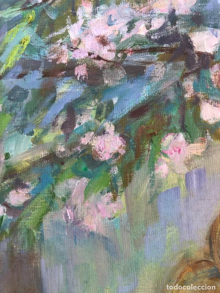 Arte: Angeles Santos Torroella - Figura en el jardín - Óleo lienzo - Foto 5 - 138871069