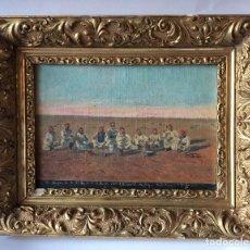Arte: ÓLEO SOBRE LIENZO ,AÑO 1900, REGIMIENTO DE SOLDADOS ÁRABES CENANDO,EN COLONIA FRANCESA . Lote 138878114