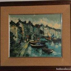 Arte - óleo con paisaje del Puerto de Honfleur - 138958578