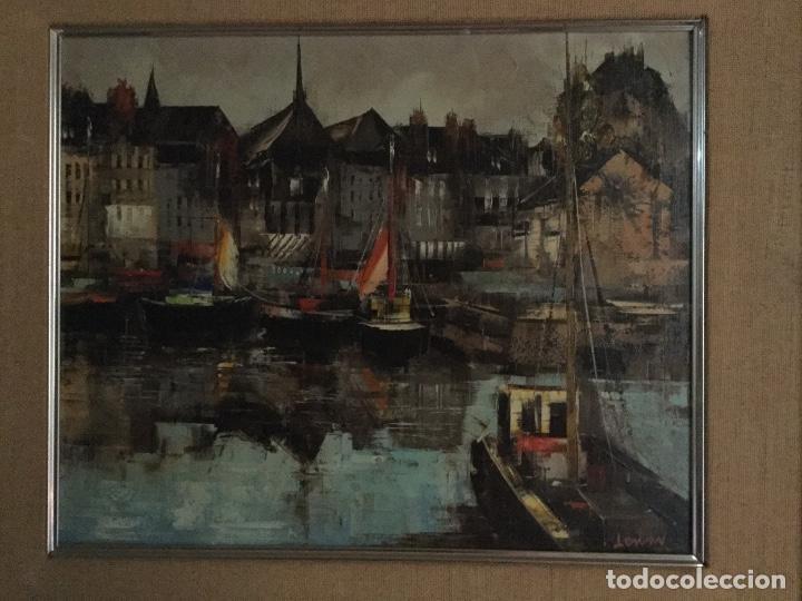 Arte: Óleo con paisaje del Puerto de Honfleur firmado fechado y titulado - Foto 2 - 138958746
