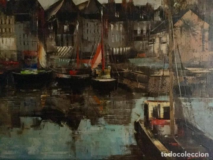 Arte: Óleo con paisaje del Puerto de Honfleur firmado fechado y titulado - Foto 3 - 138958746