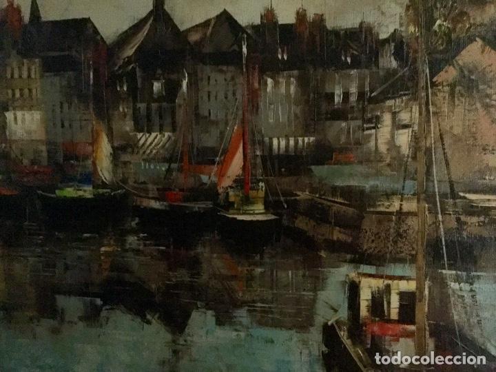 Arte: Óleo con paisaje del Puerto de Honfleur firmado fechado y titulado - Foto 4 - 138958746