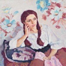 Arte: JOAN PALET. JOVENCITA, OLEO SOBRE LIENZO 81 X 65 CM. Lote 139020398