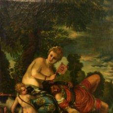 Arte: VENUS Y ADONIS. ÓLEO SOBRE LIENZO. COPIA DE UN ORIGINAL DEL VERONÉS. ITALIA(?). XVII(?). Lote 139052886