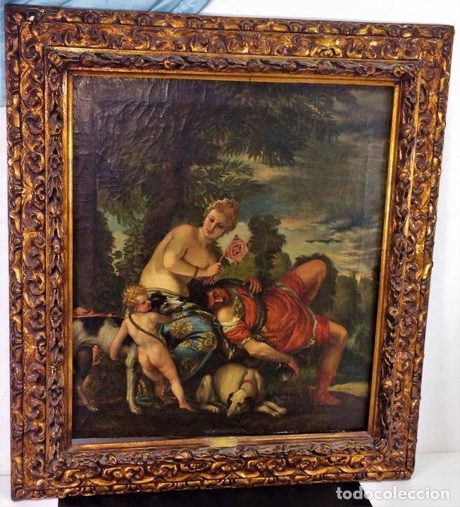 Arte: VENUS Y ADONIS. ÓLEO SOBRE LIENZO. COPIA DE UN ORIGINAL DEL VERONÉS. ITALIA(?). XVII(?) - Foto 2 - 139052886