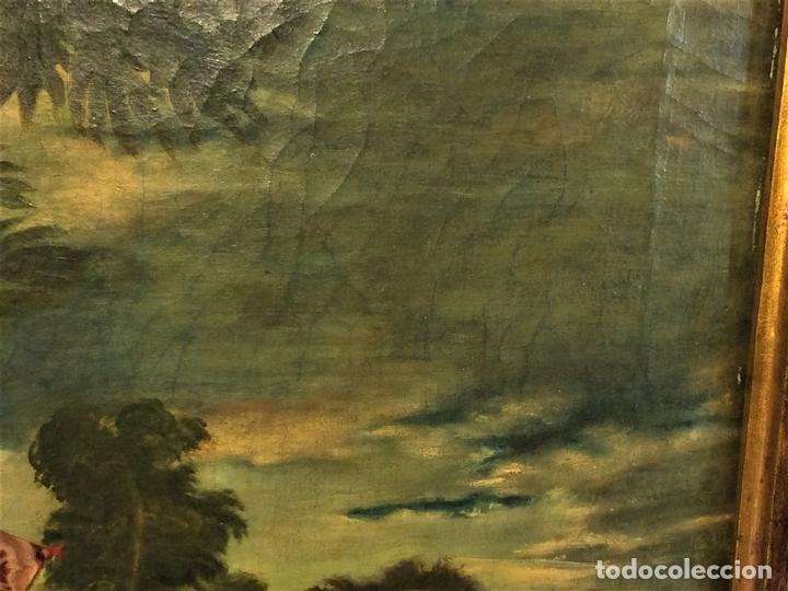 Arte: VENUS Y ADONIS. ÓLEO SOBRE LIENZO. COPIA DE UN ORIGINAL DEL VERONÉS. ITALIA(?). XVII(?) - Foto 4 - 139052886