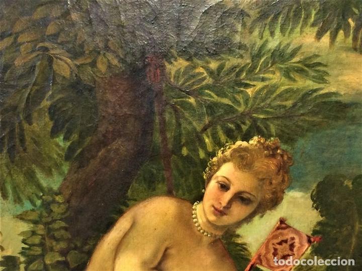 Arte: VENUS Y ADONIS. ÓLEO SOBRE LIENZO. COPIA DE UN ORIGINAL DEL VERONÉS. ITALIA(?). XVII(?) - Foto 7 - 139052886