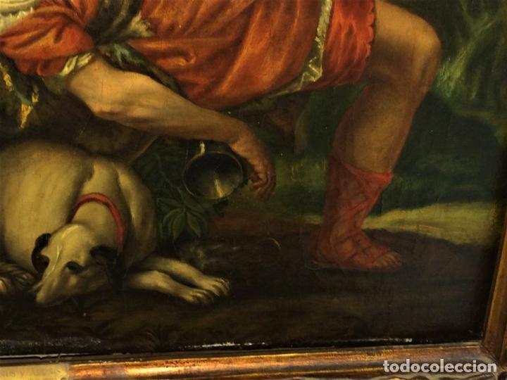 Arte: VENUS Y ADONIS. ÓLEO SOBRE LIENZO. COPIA DE UN ORIGINAL DEL VERONÉS. ITALIA(?). XVII(?) - Foto 8 - 139052886