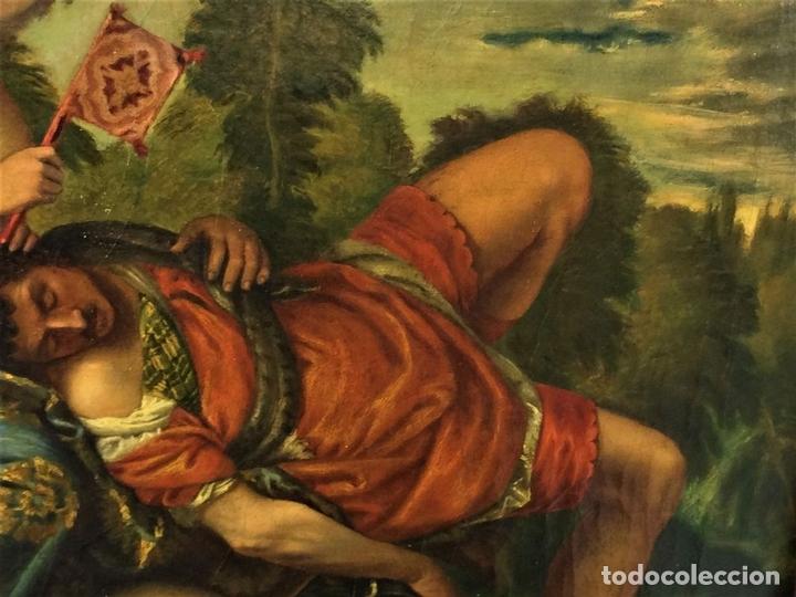 Arte: VENUS Y ADONIS. ÓLEO SOBRE LIENZO. COPIA DE UN ORIGINAL DEL VERONÉS. ITALIA(?). XVII(?) - Foto 9 - 139052886