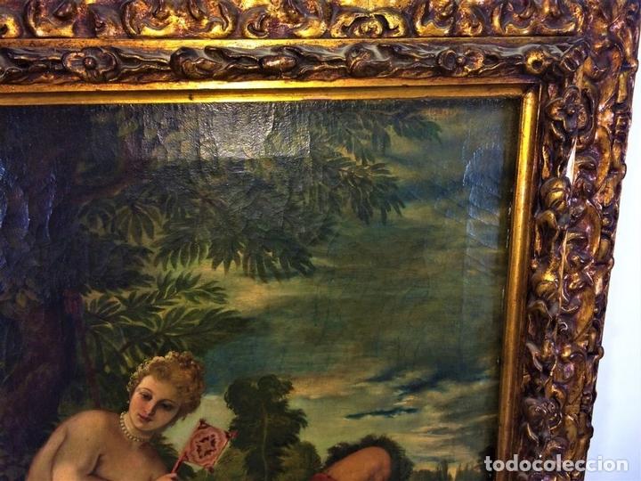 Arte: VENUS Y ADONIS. ÓLEO SOBRE LIENZO. COPIA DE UN ORIGINAL DEL VERONÉS. ITALIA(?). XVII(?) - Foto 10 - 139052886
