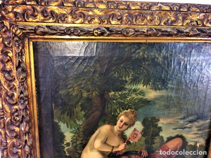 Arte: VENUS Y ADONIS. ÓLEO SOBRE LIENZO. COPIA DE UN ORIGINAL DEL VERONÉS. ITALIA(?). XVII(?) - Foto 11 - 139052886