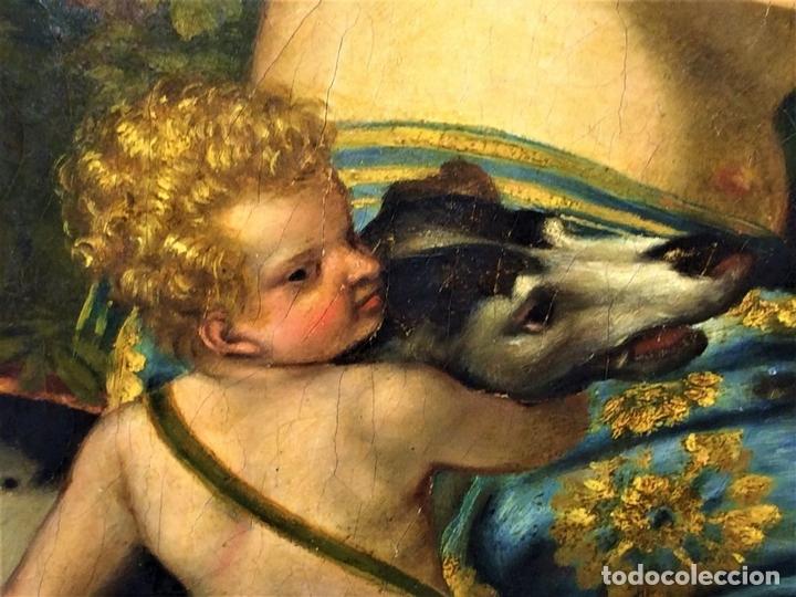 Arte: VENUS Y ADONIS. ÓLEO SOBRE LIENZO. COPIA DE UN ORIGINAL DEL VERONÉS. ITALIA(?). XVII(?) - Foto 13 - 139052886
