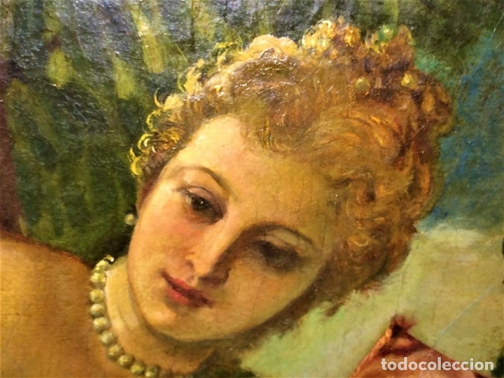 Arte: VENUS Y ADONIS. ÓLEO SOBRE LIENZO. COPIA DE UN ORIGINAL DEL VERONÉS. ITALIA(?). XVII(?) - Foto 15 - 139052886