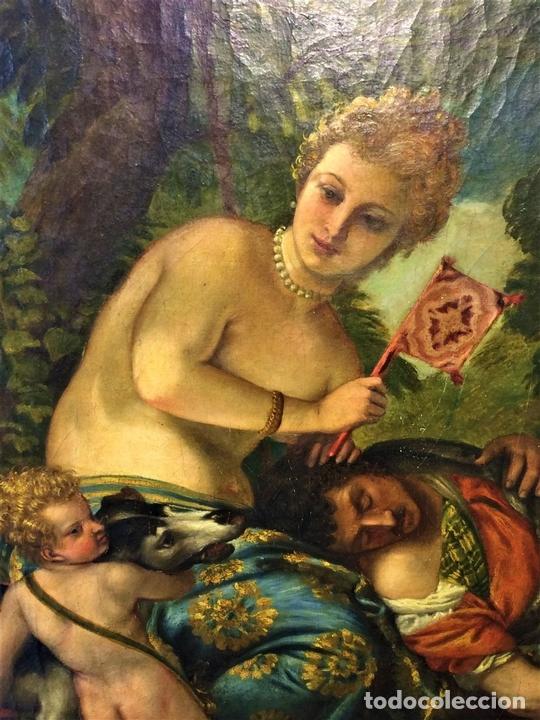 Arte: VENUS Y ADONIS. ÓLEO SOBRE LIENZO. COPIA DE UN ORIGINAL DEL VERONÉS. ITALIA(?). XVII(?) - Foto 16 - 139052886
