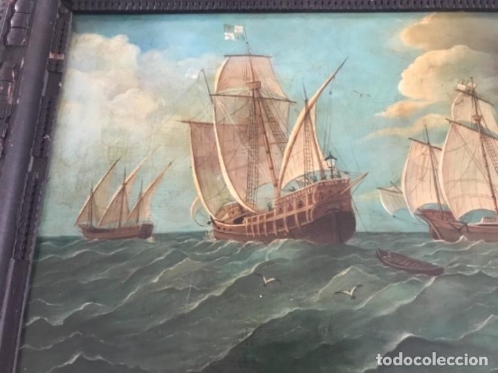 MARINA OLEO SOBRE TABLA (Arte - Pintura - Pintura al Óleo Moderna siglo XIX)