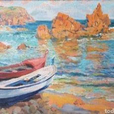 Arte: FRANCESC VIDAL PALMADA (1894 -?).MARINA CON BARCAS.OLEO/TELA.COSTA BRAVA.FIRMADO.C1930.. Lote 121986068