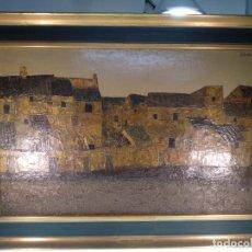 Arte: IMPORTANTE OBRA DEL PINTOR ANTONIO PEDRERO YÉBOLES - PUEBLO ZAMORANO - OLEO SOBRE LIENZO - 1965 -. Lote 139175962