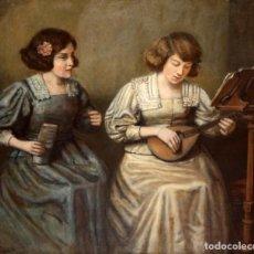 Arte: ROMÁN RIBERA CIRERA (BARCELONA, 1848 - 1935) OLEO SOBRE TELA. LA PROFESORA Y LA ALUMNA. 90 X 100 CM.. Lote 139180658