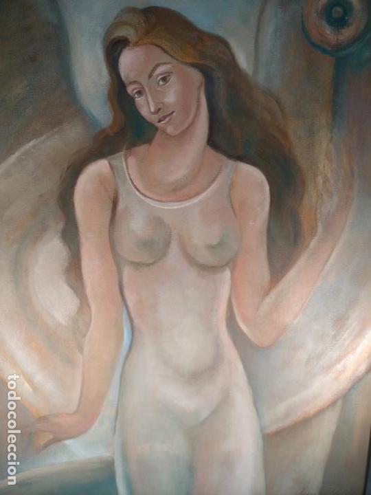 Arte: MUY BELLO OLEO SOBRE LIENZO DE MUJER ALADA - FIRMADO POR EL PINTOR CUBANO LAZARO REYNALDO RODRIGUEZ - Foto 2 - 139206886