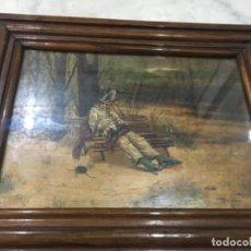 Arte: TOMÀS PADRÓ Y PEDRET - PINTURA AL OLEO SOBRE TABLA . ARLEQUIN EN EL PARQUE CON SU MARCO DE ÈPOCA. Lote 139212942