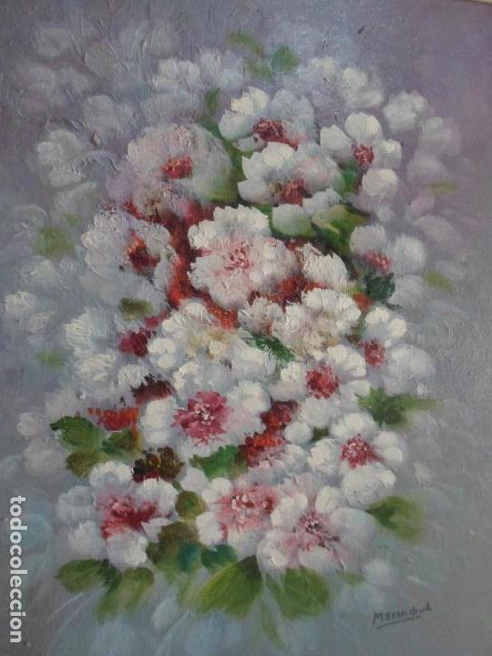 ÓLEO FLORES BLANCAS. FIRMADO BRONCHUD (Arte - Pintura - Pintura al Óleo Contemporánea )