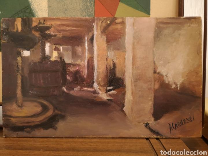 OLEO SOBRE TABLA COPIA DE IGNACIO PINAZO, VISTA INTERIOR, 19X11CM (Arte - Pintura - Pintura al Óleo Contemporánea )