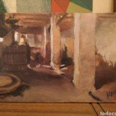 Arte: OLEO SOBRE TABLA COPIA DE IGNACIO PINAZO, VISTA INTERIOR, 19X11CM. Lote 139328509