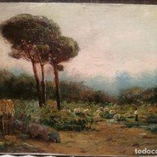 Arte: PAISAJE CON REBAÑO POR JAUME PONS MARTI (1855-1931). Lote 139333546