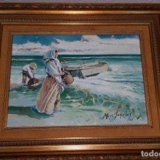 Arte: CUADRO DE MOYA SEGRELLES (PERSONAS HACIENDO TAREAS EN EL MAR). Lote 139335778