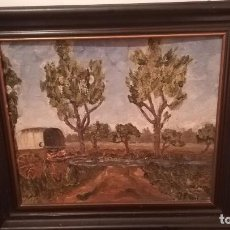 Arte: ANTIGUO OLEO SOBRE TABLEX DE PAISAJE FIRMADO J.RIBERT, ENMARCADO. Lote 139362746
