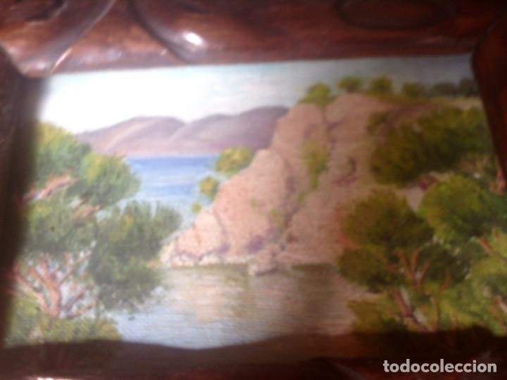 Arte: ~~~~ OLEO SOBRE TABLA - PAISAJE -BONITO ENMARCAJE DE MADERA ANTIGUO, MIDE 22X18, TABLITA 14X10 CM.~~ - Foto 10 - 72830591