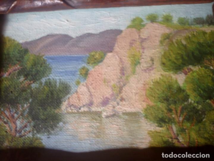 Arte: ~~~~ OLEO SOBRE TABLA - PAISAJE -BONITO ENMARCAJE DE MADERA ANTIGUO, MIDE 22X18, TABLITA 14X10 CM.~~ - Foto 11 - 72830591