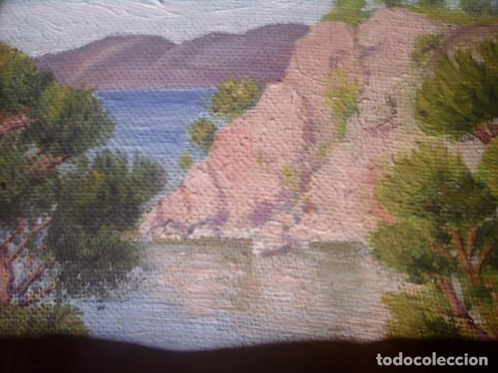 Arte: ~~~~ OLEO SOBRE TABLA - PAISAJE -BONITO ENMARCAJE DE MADERA ANTIGUO, MIDE 22X18, TABLITA 14X10 CM.~~ - Foto 12 - 72830591