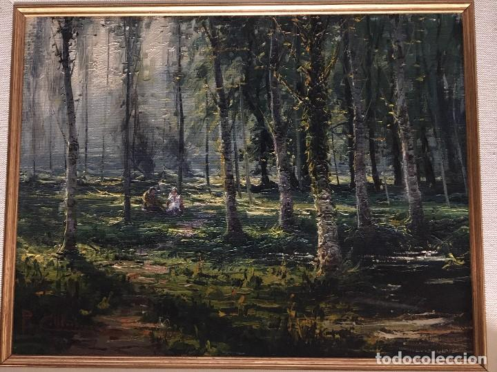 LA MOIXINA - OLOT DE PERE COLLDECARRERA (FIRMADO TAMBIEN POR ATRAS), ÓLEO SOBRE LIENZO (Arte - Pintura - Pintura al Óleo Contemporánea )