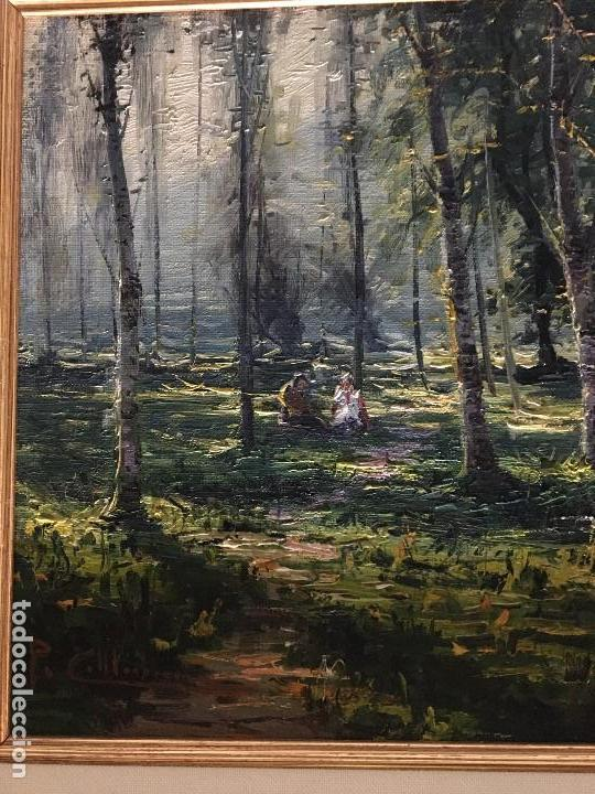 Arte: La Moixina - Olot de Pere Colldecarrera (firmado tambien por atras), óleo sobre lienzo - Foto 2 - 139457278