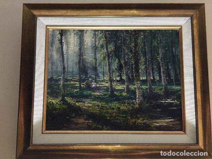 Arte: La Moixina - Olot de Pere Colldecarrera (firmado tambien por atras), óleo sobre lienzo - Foto 6 - 139457278