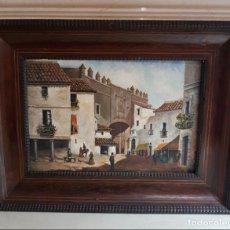 Arte: POSTIGO DEL ACEITE,(SEVILLA),MUY BONITO OLEO EN TABLA ENMARCADA Y FIRMADA F. DELGADO,S. XIX. Lote 139461950