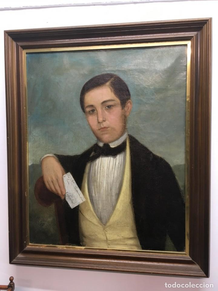 RETRATO DE JOVEN ROMÁNTICO DEL SIGLO XIX - ÓLEO SOBRE LIENZO. (Arte - Pintura - Pintura al Óleo Moderna siglo XIX)