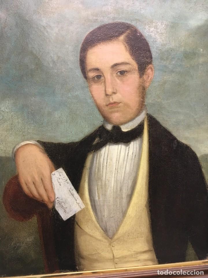 Arte: Retrato de Joven Romántico del siglo XIX - óleo sobre lienzo. - Foto 2 - 139464106