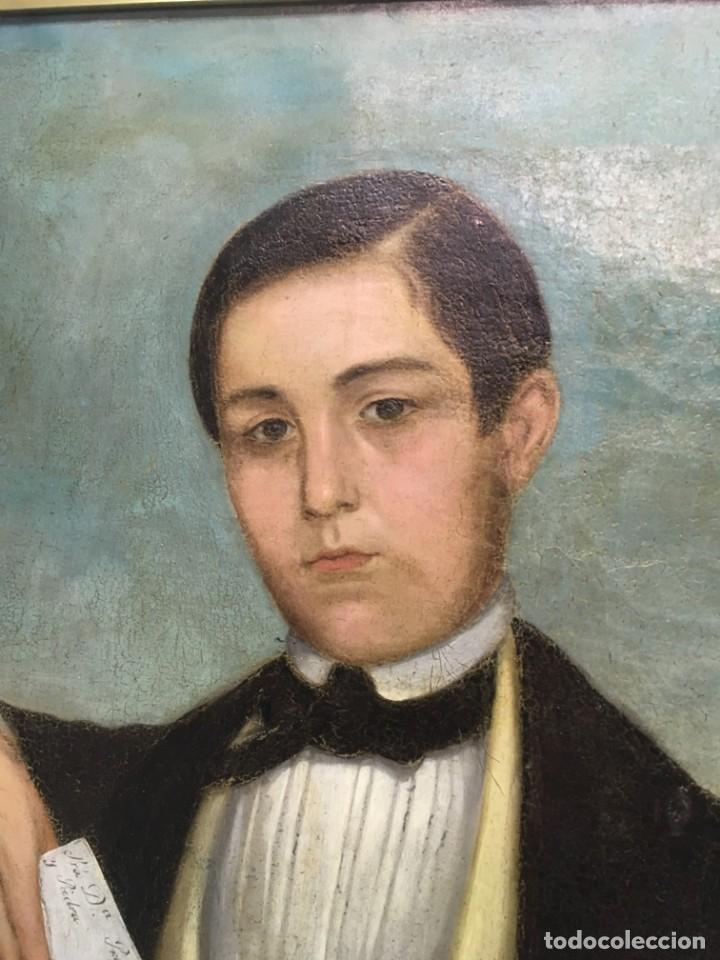 Arte: Retrato de Joven Romántico del siglo XIX - óleo sobre lienzo. - Foto 4 - 139464106