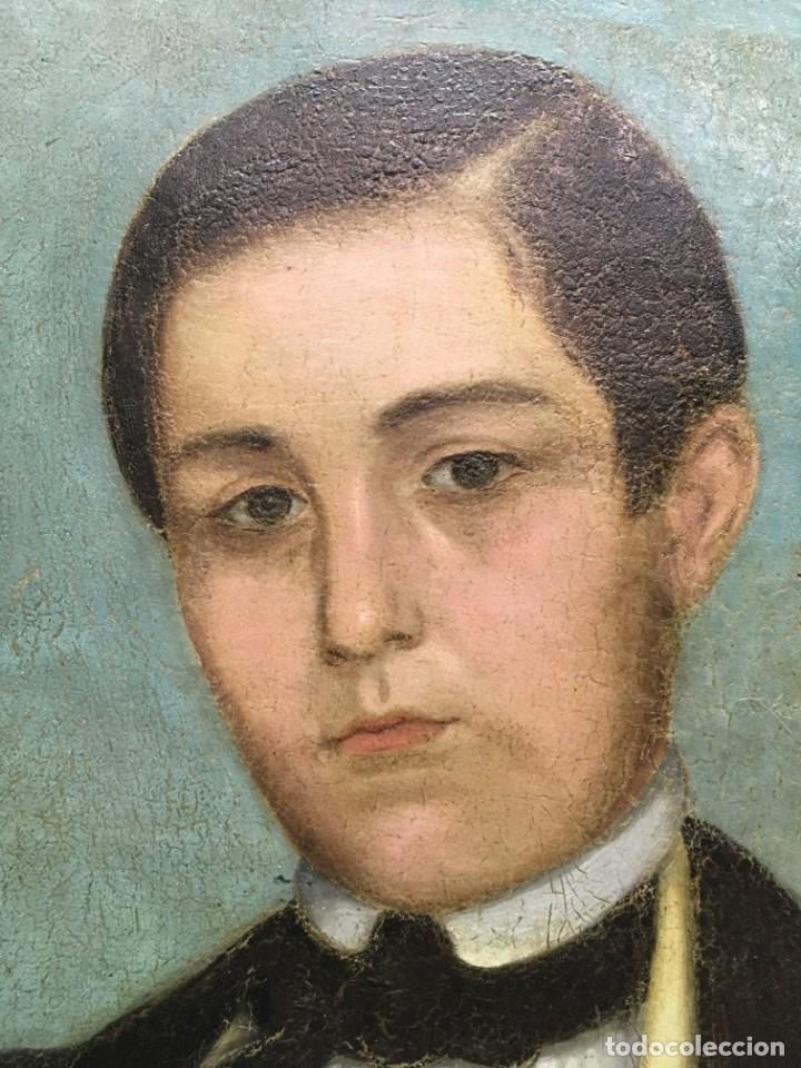 Arte: Retrato de Joven Romántico del siglo XIX - óleo sobre lienzo. - Foto 5 - 139464106
