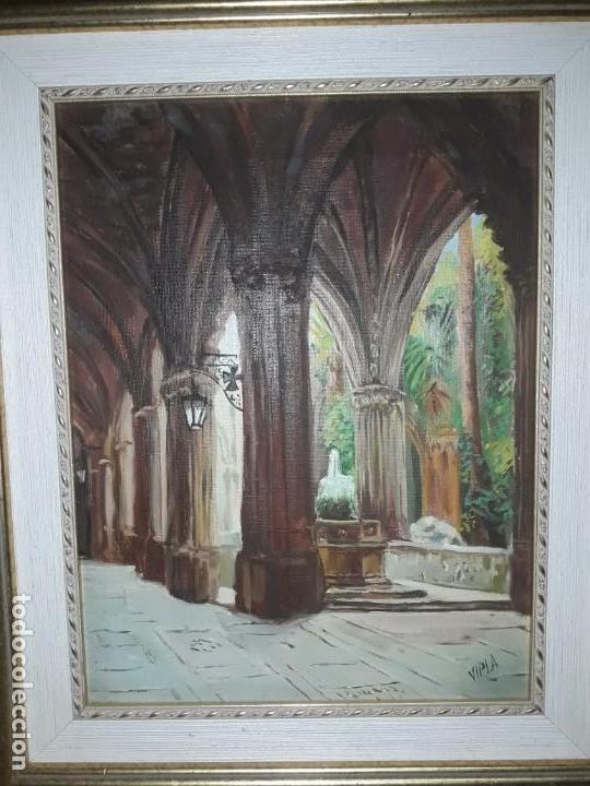 Arte: Magnifico cuadro pintura al oleo sobre tela Claustro firmado Vipla - Foto 2 - 160559794