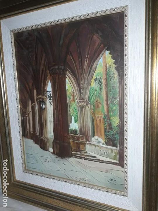 Arte: Magnifico cuadro pintura al oleo sobre tela Claustro firmado Vipla - Foto 3 - 160559794