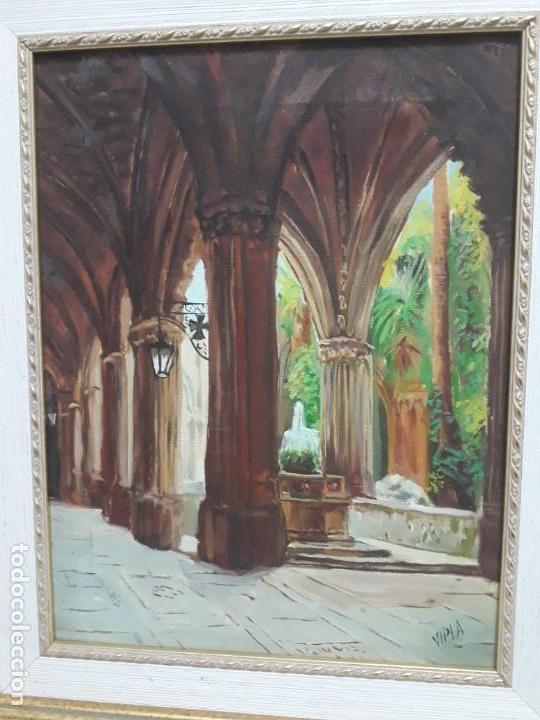 Arte: Magnifico cuadro pintura al oleo sobre tela Claustro firmado Vipla - Foto 4 - 160559794