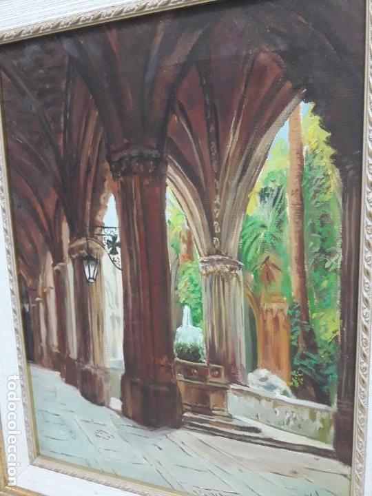 Arte: Magnifico cuadro pintura al oleo sobre tela Claustro firmado Vipla - Foto 6 - 160559794